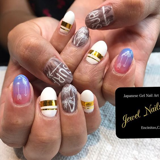 Encinitas,CA. (Moon light beach ) Japanese gel nail art by Isuzu ...