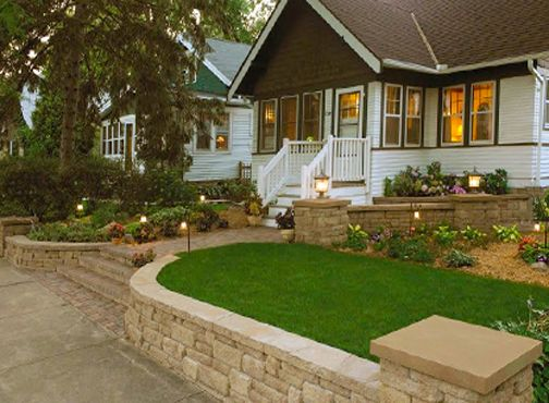 Landscaping Ideas For Uneven Yard : Uneven surface taken care of with retaining wall and steps xeriscaping towards the house just