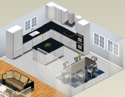 add microwave next to fridge, porch door on one wall of dining area