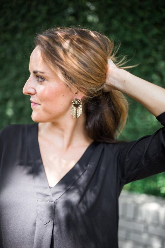 Black Blouse and Statement Earrings