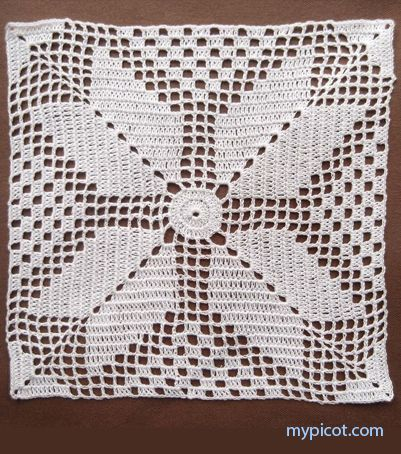 """MyPicot HOME WORK Free Pattern h011.pdf (Downloaded - SLT)  Crochet patterns from """"HOME WORK"""", ROSE PUBLISHING CO. (LTD.), 1881 """"Square for Quilt No. 143"""""""