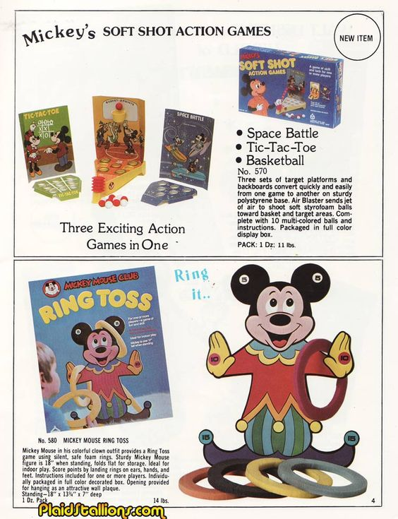 "Carnival Toys ""Mickey Mouse"" Soft Shot Action Games and ""Mickey Mouse Club"" Ring Toss game"