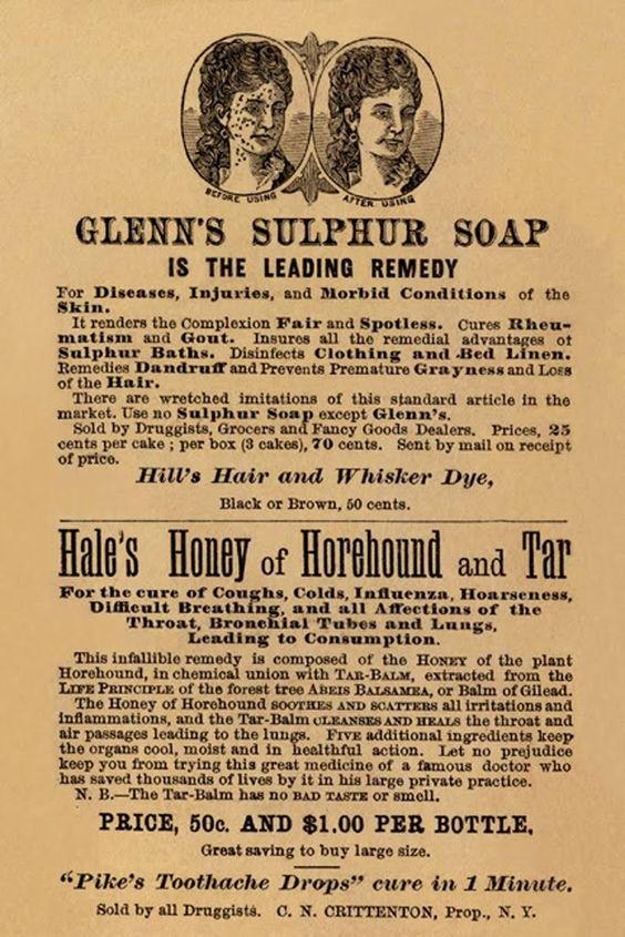 Glenn's Sulphur Soap - Hale's Honey of Horehound and Tar