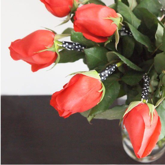 Have your Valentine roses gone a little limp because of the heavy rose buds?  Here is a tutorial on how to spruce them up with washi tape.