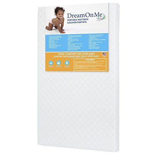 Dream On Me 3 Pocket Coil Mini Portable Crib Mattress White Blue Portable Crib Crib Mattress Portable Mattress