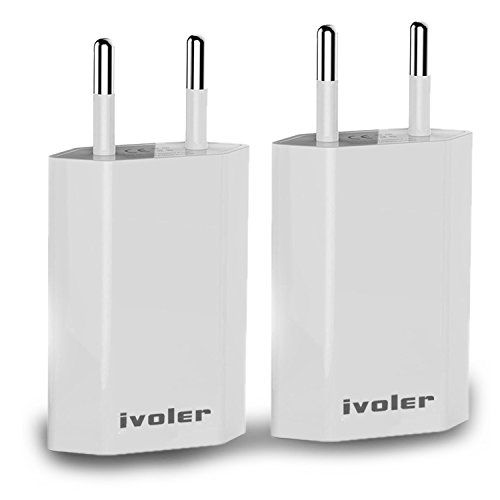 Lot De 2 Original Ivoler Set 2en1 Chargeur Slim Version Adaptateur 1a Cable Usb De Charge 1m Pour Apple Iphone X Iphone 8 8 Plus Iphone 7 7 Plus Ipho