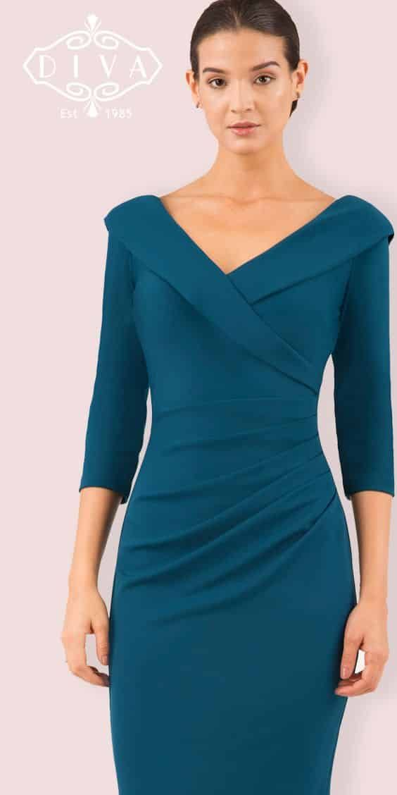 Diva Eliza Robe Crayon A Manches 3 4 Robes Stretch Turquoise Classy Dress Dresses For Work Stretch Dress