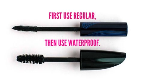Use regular mascara, then apply waterproof mascara. 26 Mind-Blowing Hacks to Get Flawless Eyelashes Every Time