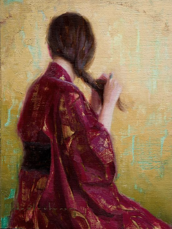 "Aaron Westerberg, ""Braiding Her Hair"" - 12x9, oil on panel-- at Principle Gallery"