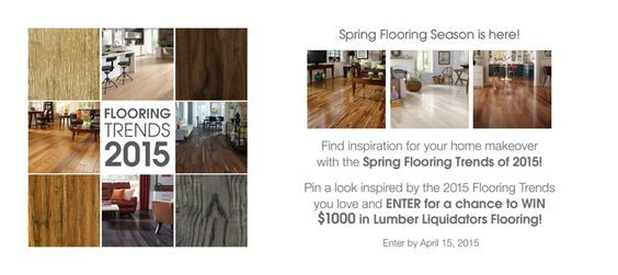 Check out the latest flooring trends - from gorgeous grays to distressed textures & bold styles - to find some inspiration for your own home! Pin a look you love for your home makeover, then enter for a chance to win $1,000 for a new floor from Lumber Liquidators! https://www.pinterest.com/pin/34832597095011495/