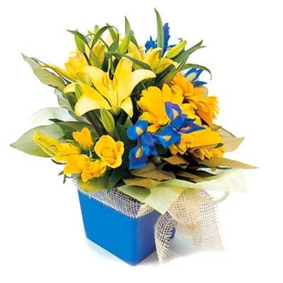 Yellow and blue centerpiece flower