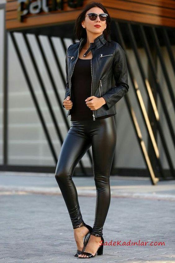 2021 Deri Tayt Kombinleri Siyah Deri Tayt Siyah Bluz Siyah Kisa Deri Ceket Siyah Topuklu Ayakkabi Siyah Deri Siyah Bluz Siyah Deri Ceketler