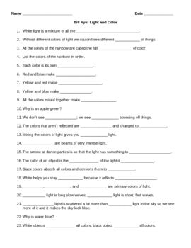 Printables Bill Nye Worksheets student bill nye and ice on pinterest this video worksheet goes along with the titled light color the