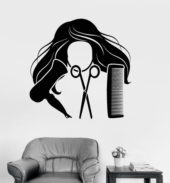 Vinyl Wall Decal Hair Salon Barber Tools Beauty Salon Stickers Mural (ig3710)