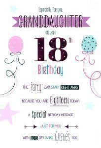 Happy 18th Birthday Granddaughter 18th Birthday Happy Birthday 18th 18th Birthday Cards