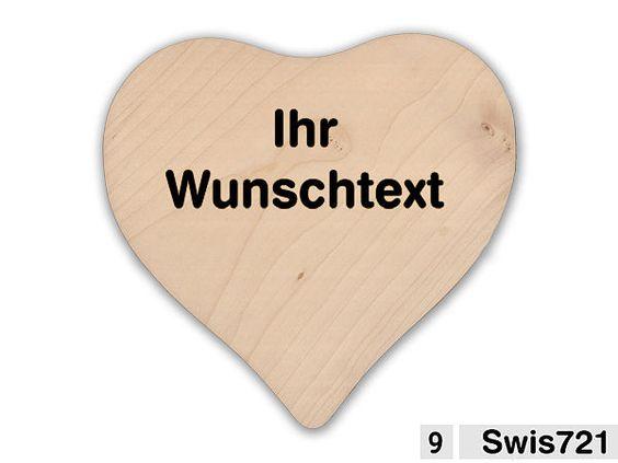 Holzherz 24x24x1,4cm mit Ihrem Wunschtext - Hausnummern, Türschilder, Firmenschilder, Straßenschilder, Parkplatzschilder und Kenzeichenhalter günstig im Schildershop24 kaufen