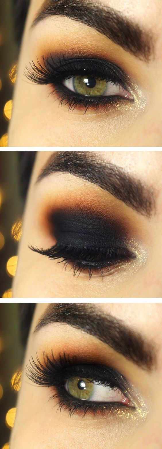 Wonderful Eye Makeup Tutorials You Need To Copy: Wonderful Smokey Orange With Yellow And Bright Gold Makeup