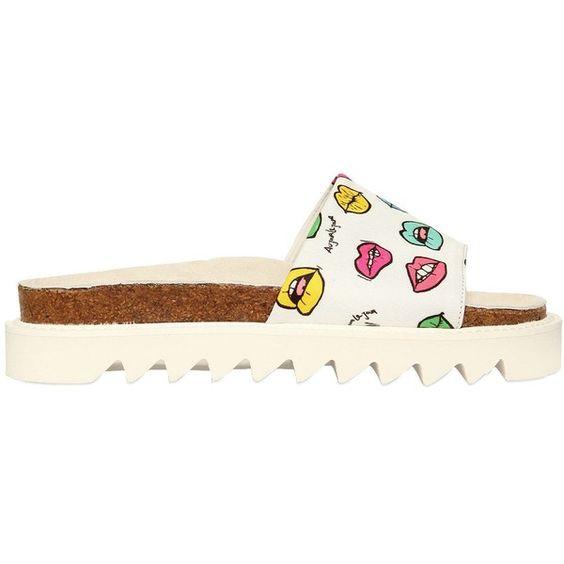 AU JOUR LE JOUR Lips Printed Techno Canvas Slide Sandals (1.815 RON) ❤ liked on Polyvore featuring men's fashion, men's shoes, men's sandals, mens leopard print shoes, mens canvas sandals and mens canvas shoes