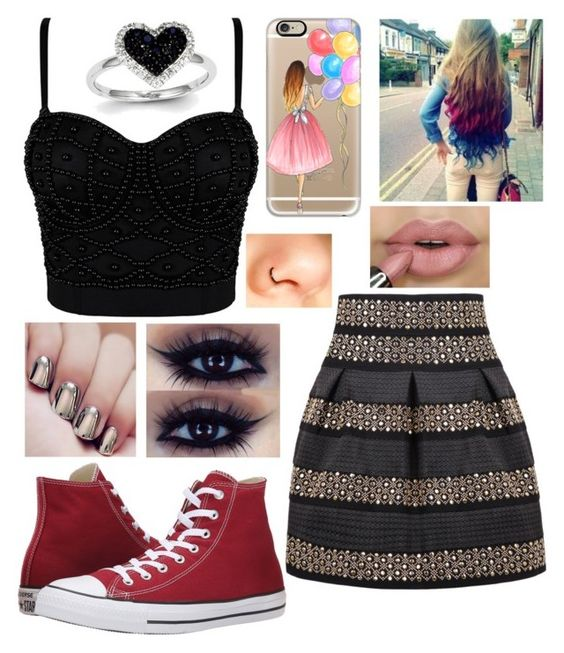 """""""Untitled #316"""" by mackandlil ❤ liked on Polyvore featuring Sara M. Lyons, Converse, Casetify and Kevin Jewelers"""