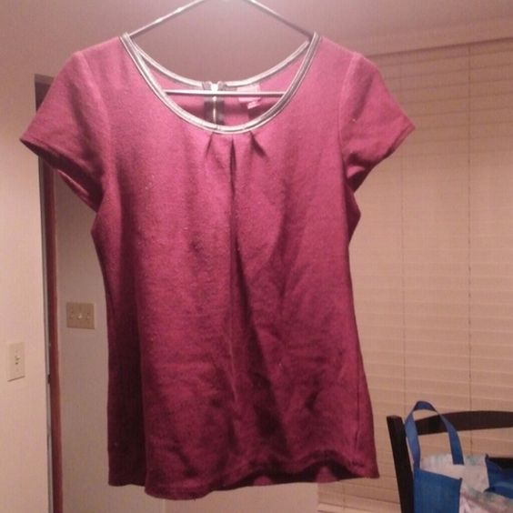 Knit top with faux leather and zipper Knit fabric. Faux leather around neck with zipper at base of neck. Front has pleats at top. Bought at Target. Merona Tops Tees - Short Sleeve