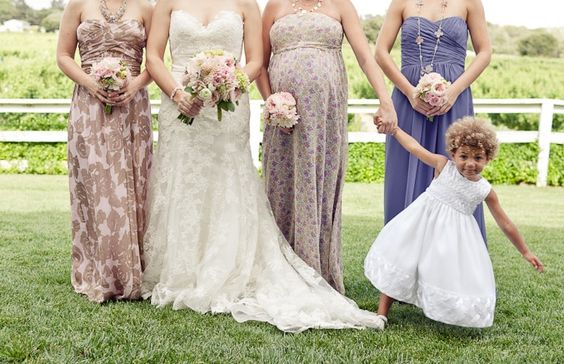Your friends have : Selected matching dresses for their bridesmaids (or if they're daring, different dresses in the same colour).     We prefer : Swapping stuffy for sophisticated with an eclectic couture look. These long, flowing gowns employ multiple patterns within a common colour palette, ensuring the bridesmaids complement rather than contrast one another.    Image by  Erin Hearts Court .
