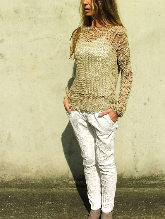 Khaki beige loose knit summer sweater in a cotton linen silk mix yarn LAST ONE…