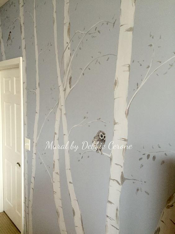Contemporary birch tree mural with cute baby owl and birds for Diy birch tree mural
