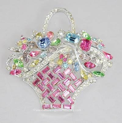 Vintage Bogoff Rhinestone Flower Basket Brooch. Reminds me of the brooch Bekah got me...I love it!
