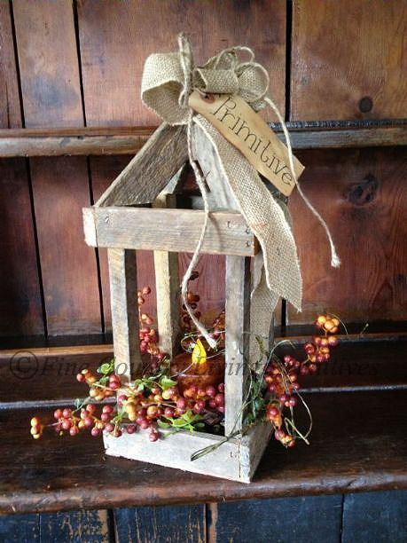 Primitive autumn decor primitive fall and autumn decorating handcrafted fall lantern with for Partners federal credit union winter garden fl