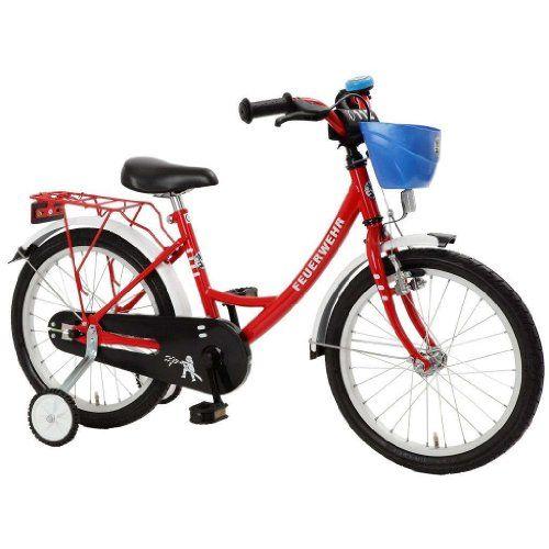 Bachtenkirch 18 Zoll Fahrrad Feuerwehr rot weiss Kinderfa…