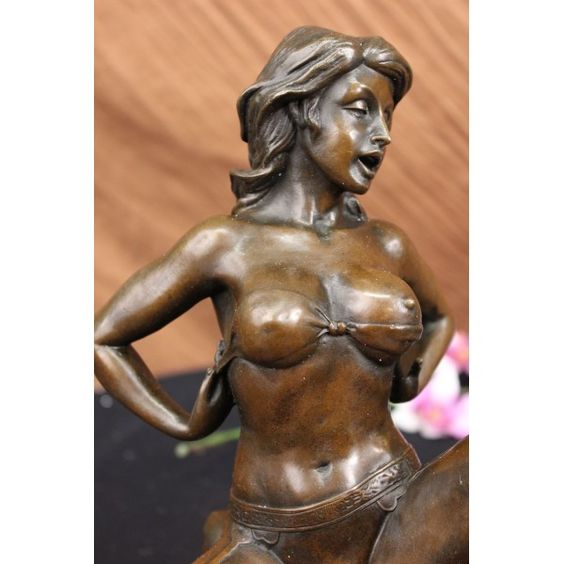 ON SALE !!! Nouveau Erotic Figures Nude Jordan Woman Bronze Statue...This Highly Erotic Sculpture Features A Nude Female In A Very Evocative Pose Exposing All Of Her Body Parts. She Wears High Heels While She Is Seated On A Toilet In The Midst Of (I Leave It To Your Imagination). Wavy Tendrils Of Hair Frame Her Slender Face And By Her Facial Expression, One Can Readily See That She Is Enjoying Her Activity. This Piece Is Definitely A Great Conversation Starter And Would Make A Great Gift For…