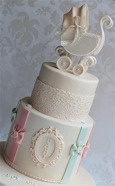 An elegant baby shower cake - beautifully done!