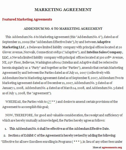 Marketing Services Agreement Template Lovely Marketing Agreement Sample Marketing Agreement Template Contract Template Marketing Services Media Marketing