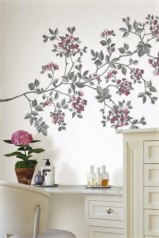 vinyl wall art mural sticker Bloom Flower shade glass window wall decal