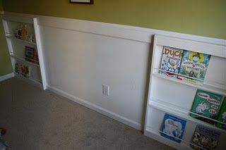 use this idea around the bed area? Build bookshelves out?