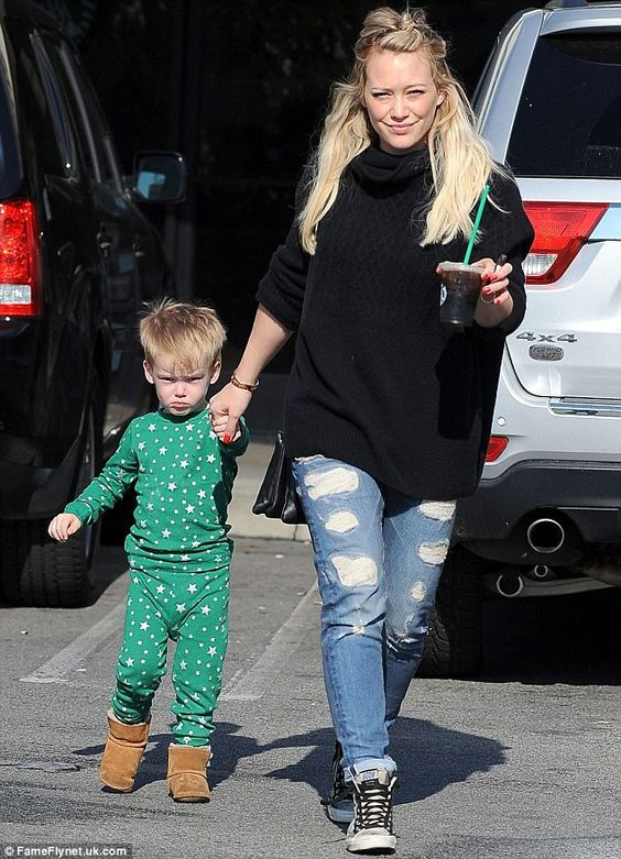 Hilary Duff was seen taking her son Luca with her on an early morning coffee run in Studio City, California on Saturday
