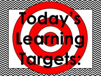 This Daily Learning Targets Bulletin Board Set with colorful chevron borders and…
