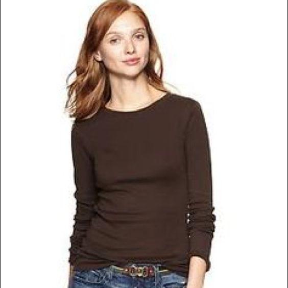 GAP BROWN LONG SLEEVE Brown long sleeve from gap. Size M .. Barley worn, in great condition . GAP Tops Tees - Long Sleeve