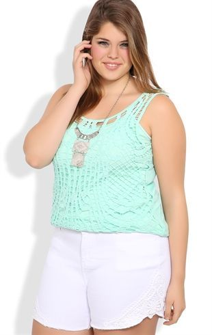 Deb Shops Plus Size White Denim High Waisted Shorts with Crochet Sides $24.67: