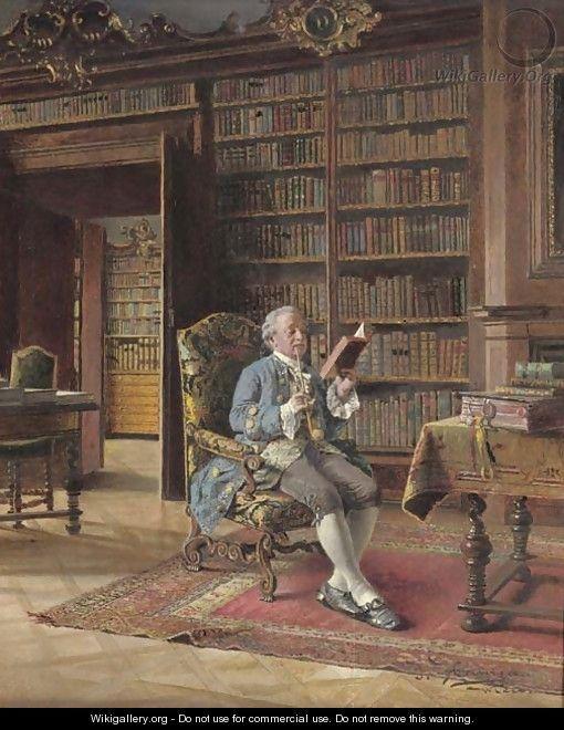 """In the Library"" by Johann Hamza (Austrian, 1850-1927):"