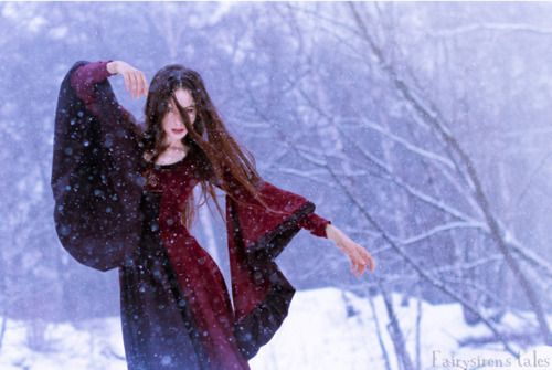 I want the make this dress, but she's moving funny and there's snow in the way. :]