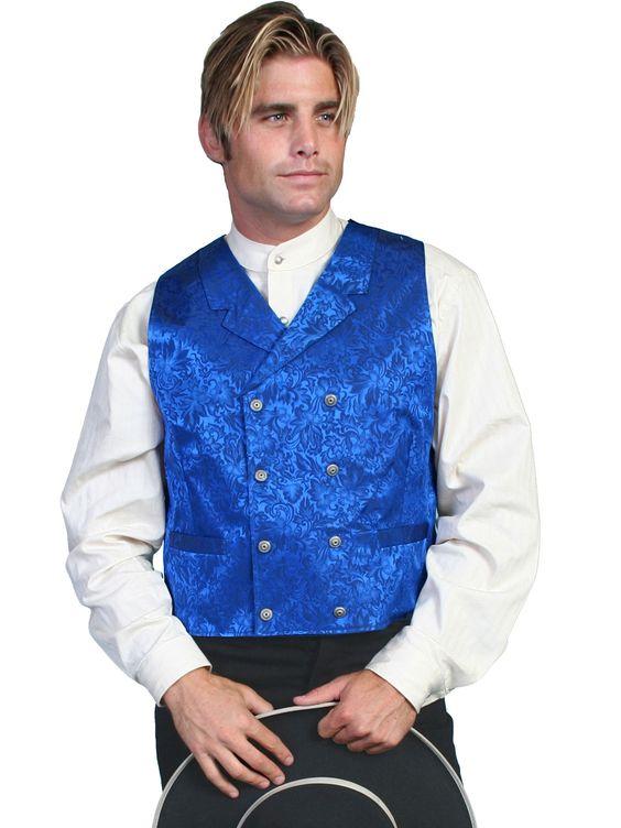 Scully Wahmaker Mens Royal 100% Silk Silk Jacquard USA DB Vest