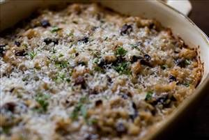 Mushroom & Rice Casserole - Hearty mushroom casserole with rice, sour cream, cottage cheese and spices topped with parmesan