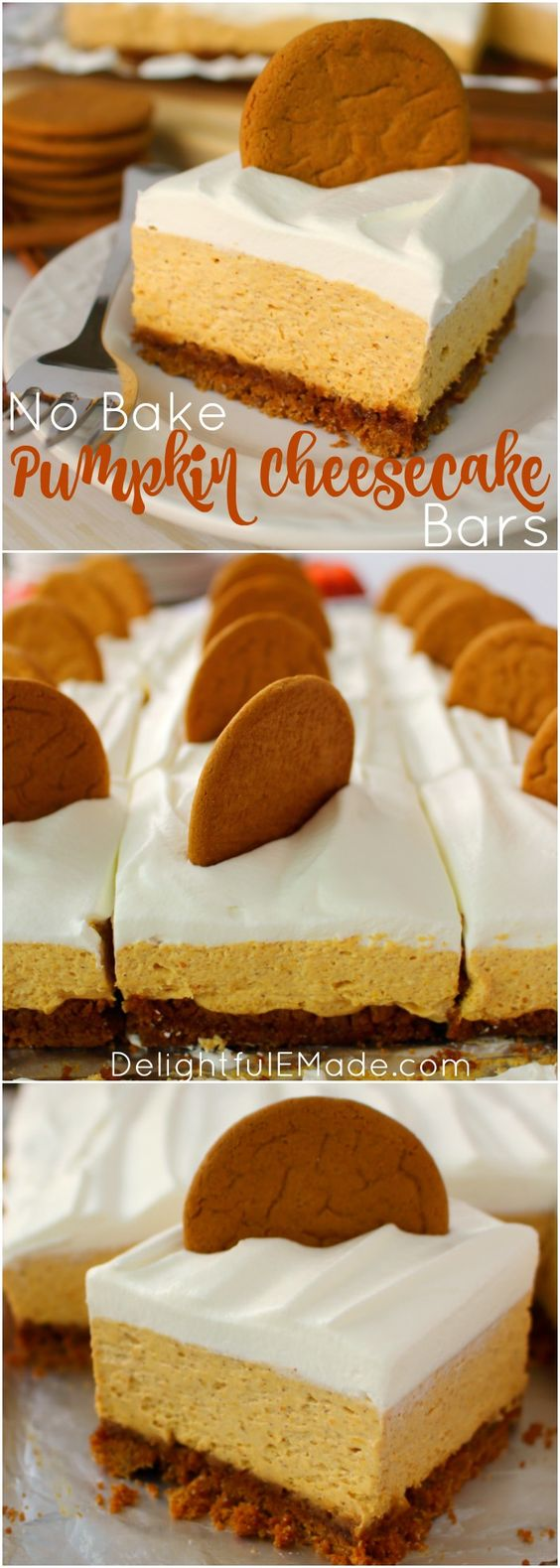 Let me introduce you to your new favorite fall dessert! Made with a Gingersnap Cookie Crust, whipped topping and a few other goodies, these No Bake Pumpkin Cheesecake Bars are simple enough for a casual fall celebration and decadent enough for Thanksgiving dinner!