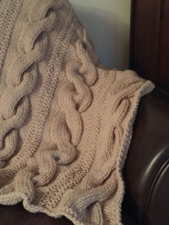 Knitted throw. Really easy the make in five panels found on lion brand free pattern