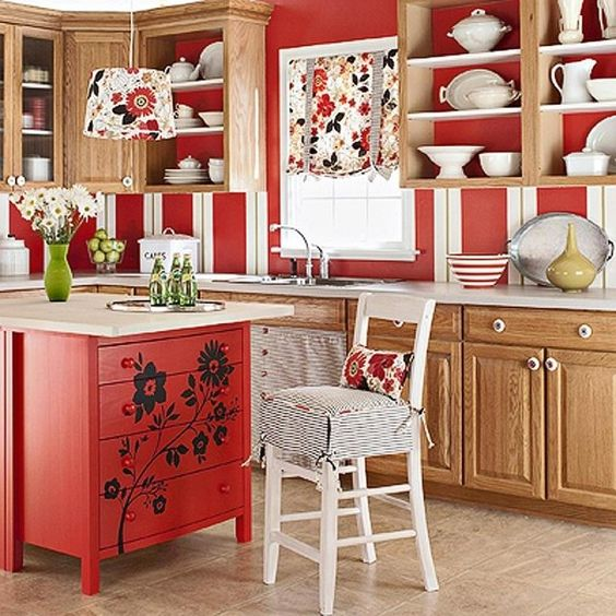 idée sur la fabrication d'îlot de cuisine en rouge et blanc