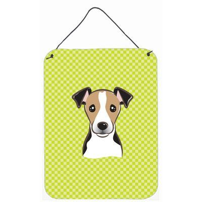 Caroline's Treasures Checkerboard Lime Green Jack Russell Terrier Painting Print Plaque Size: