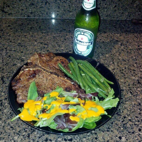 Steak, String Beans and a side Salad