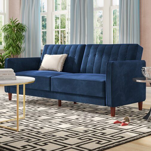 Nia Sleeper Blue Couch Living Room Furniture Luxury Sofa