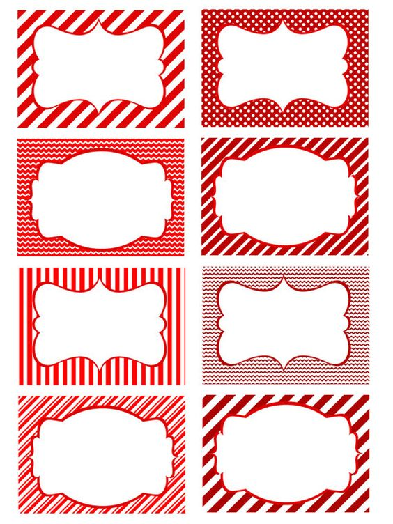 printable red and white blank holiday tags or cards great for food labeling or just a name tag